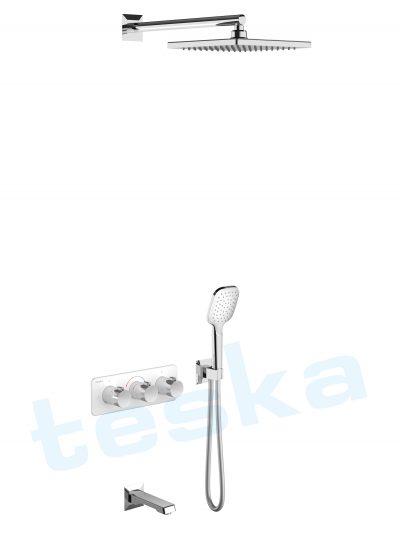 Lande Ankastre Beyaz Camlı Termostatik Banyo Bataryası T4010B