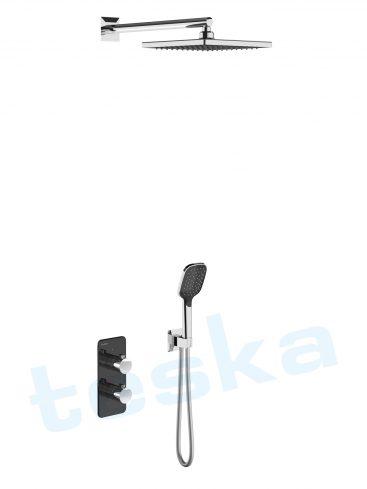 Teona Ankastre Siyah Camlı Termostatik Banyo Bataryası T4120S