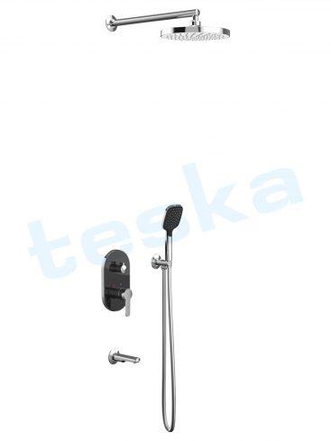 Omage Siyah Camlı Üç Yönlü Oval Ankastre Banyo Bataryası AS3200B