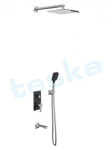 Ciera Siyah Camlı Üç Yönlü Ankastre Banyo Bataryası AS3300B
